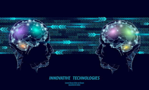 Concepto de baja realidad virtual poli baja cerebro concepto.