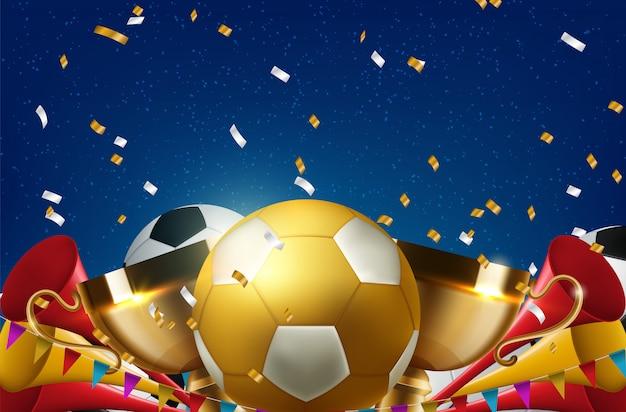Concepto de balón de fútbol para la promoción deportiva de venta de entradas sport bar
