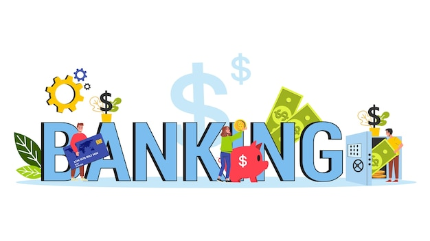 Concepto de banca. departamento e institución financiera. idea