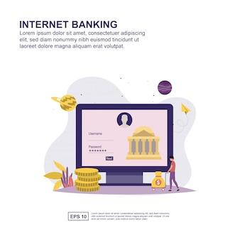 Concepto de banca por internet diseño plano para la presentación.