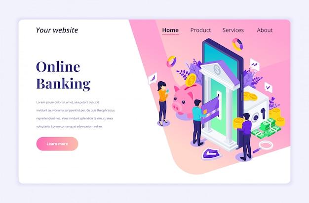 Concepto de banca en línea con personajes, plantilla de página de destino isométrica de pago electrónico