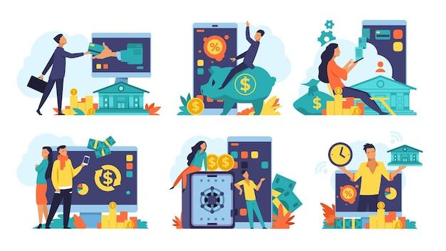 Concepto de banca online. devolución y transferencia de dinero, publicidad fintech y transacciones bancarias digitales