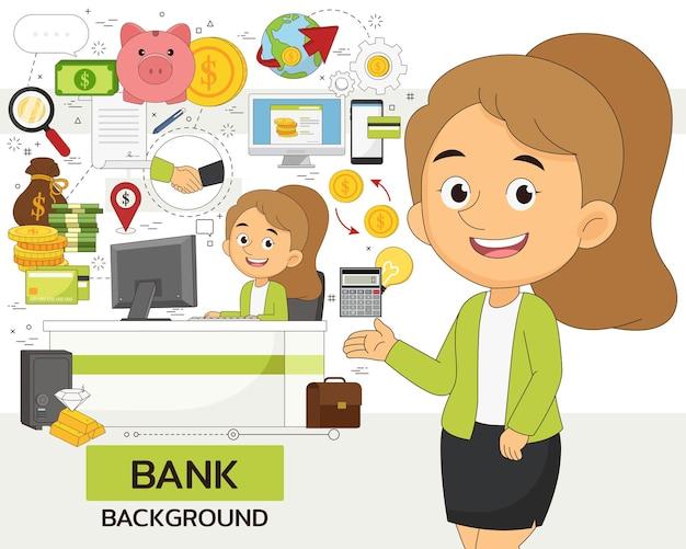 Concepto de banco. iconos planos.
