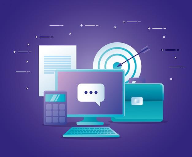 Concepto de banco en línea con computadora de escritorio