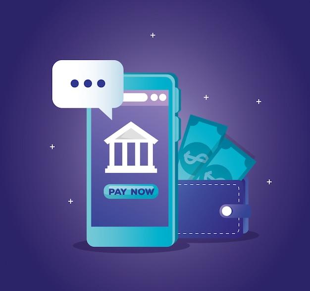 Concepto de banco en línea con teléfono inteligente y billetera