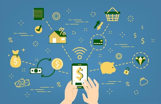 Concepto de banco móvil. servicio digital para finanzas