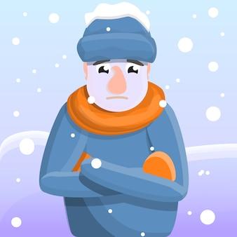 Concepto de bandera de congelación, estilo de dibujos animados