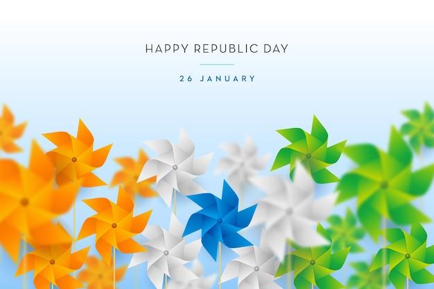 Concepto de bandera india arte de papel de molino de viento del día de la república