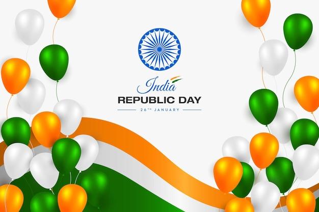 Concepto de bandera india día de la república trío colores globos