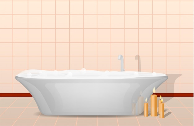Concepto de bañera y velas, estilo realista