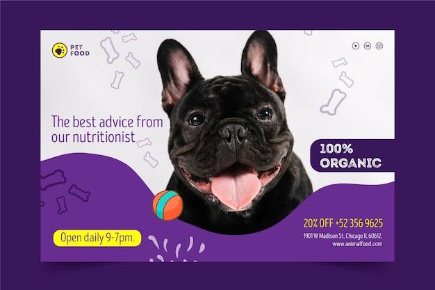 Concepto de banner de alimentos para animales