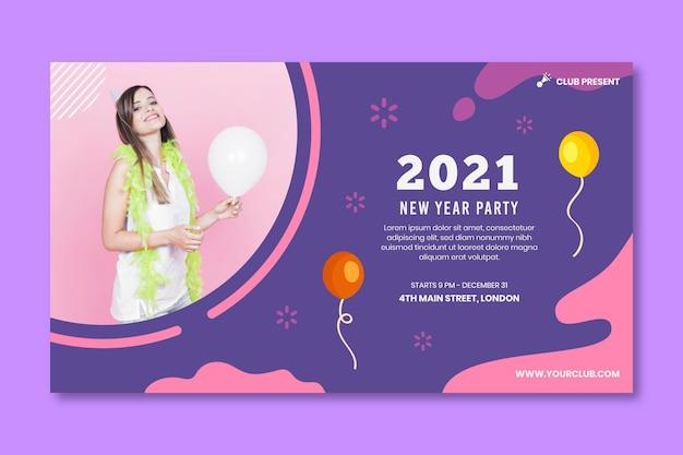 Concepto de banner de año nuevo 2021
