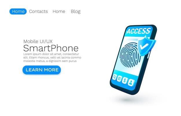 Concepto de banner de aplicación de inicio de sesión de teléfono inteligente lugar para acceso de texto autorización de aplicación en línea móvil