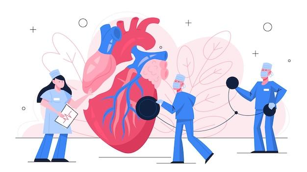 Concepto de banner de chequeo cardíaco. idea de atención médica y diagnóstico de enfermedades. el médico examina un corazón con un estetoscopio. especialista en cardiología. ilustración con estilo