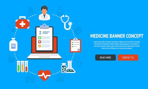 Concepto de banner de color para medicina y atención médica y tratamiento en línea. ilustración