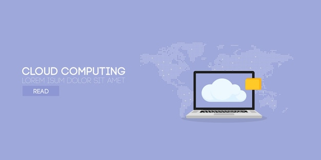 Concepto de banner de computación en la nube. fondo del mapa. ilustración vectorial