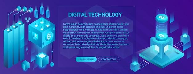 Concepto de banner de criptomoneda, ico y blockchain, centro de datos, almacenamiento de datos en la nube, que ofrece ilustración de tecnología