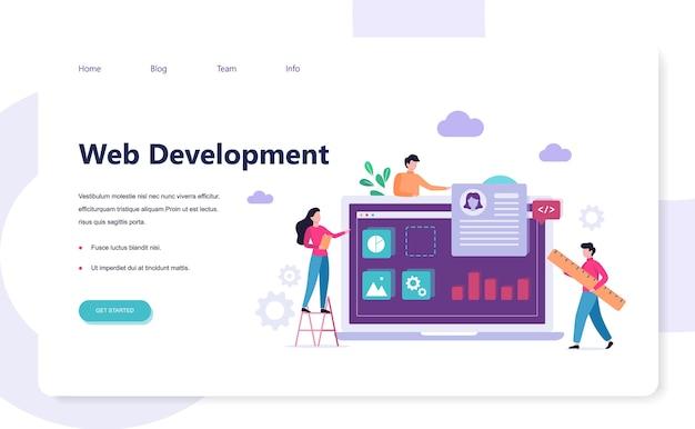 Concepto de banner de desarrollo web. código de personas y página web, interfaz de construcción en la pantalla. ilustración