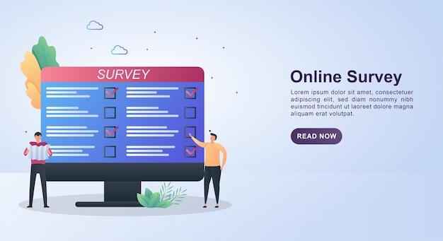 Concepto de banner de encuesta en línea con la persona que actualmente selecciona al candidato en la pantalla de la computadora.