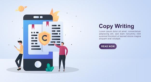 Concepto de banner de escritura de copia con la persona que está viendo la escritura en la pantalla del teléfono.