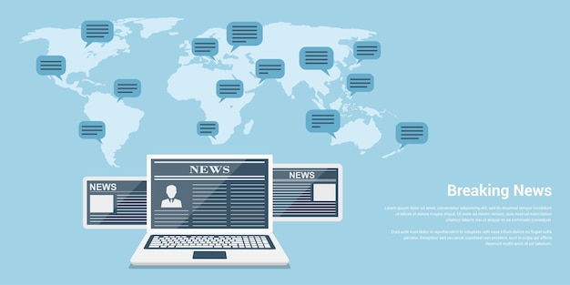 Concepto de banner de estilo de noticias de última hora, portátiles y tabletas con artículos de noticias y mapa del mundo con burbujas de discurso