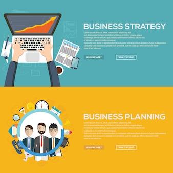 Concepto de banner de estrategia de negocio y planificación de negocio