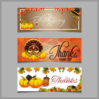 Concepto de banner de feliz día de acción de gracias con fondo