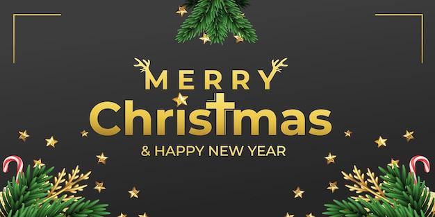 Concepto de banner de feliz navidad con fondo negro