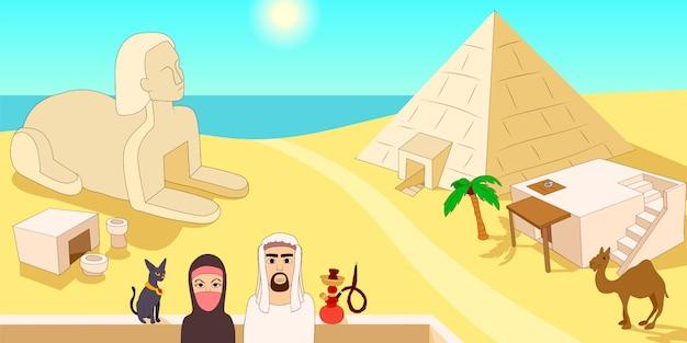 Concepto de banner horizontal de egipto