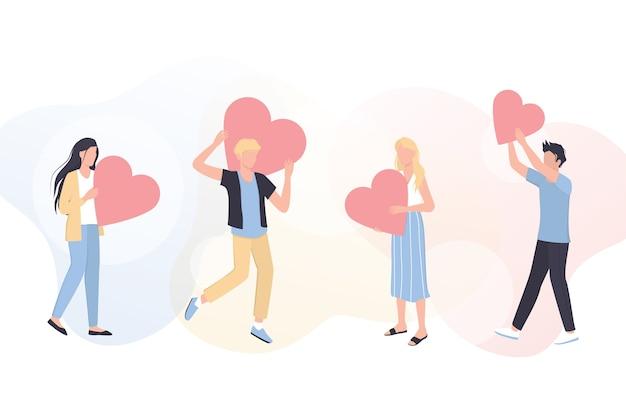 Concepto de banner o encabezado web de voluntariado. equipo de voluntarios ayuda a personas, proyectos benéficos y donaciones. los corazones como metáfora de la filantropía.