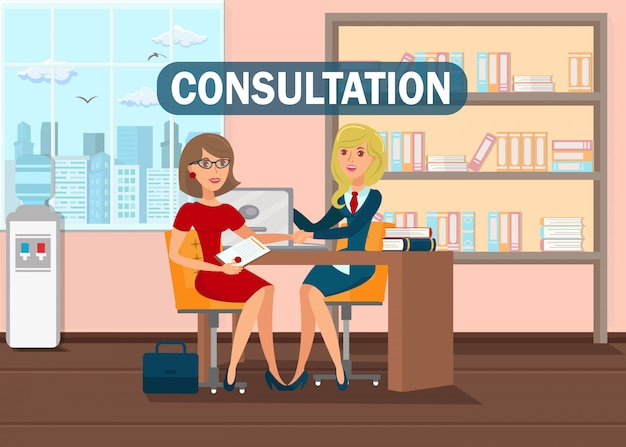 Concepto de banner plano de consulta de abogado