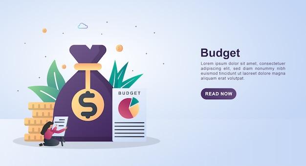 Concepto de banner de presupuesto con informes en papel y bolsa de dinero.