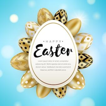 Concepto de banner de saludo de pascua feliz con brillo realista huevos de oro aislados sobre fondo azul bokeh. ilustración para tarjeta de felicitación, anuncio, promoción, póster, folleto, banner web, impresión