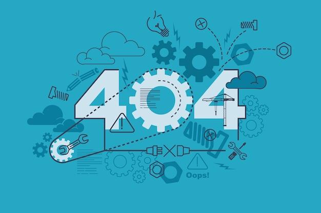 Concepto de banner de sitio web 404 con diseño plano de línea delgada