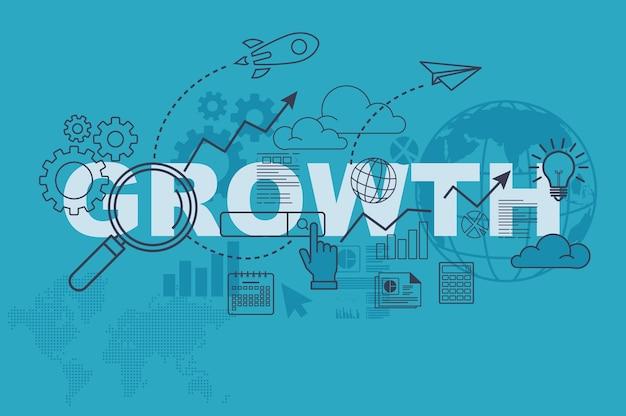 Concepto de banner de sitio web de crecimiento con diseño plano de línea delgada