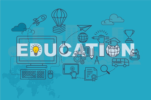 Concepto de banner de sitio web de educación con diseño plano de línea delgada