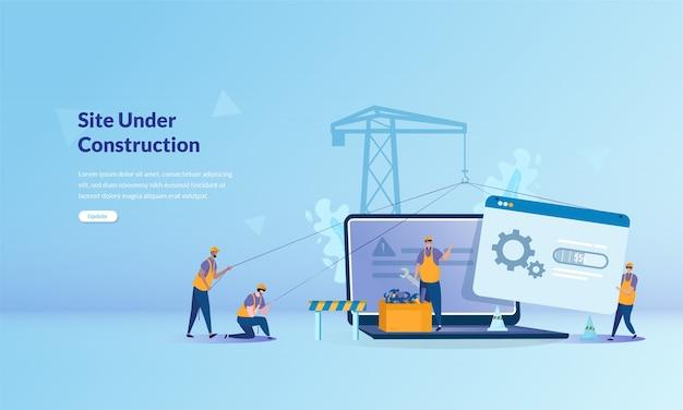 Concepto de banner sobre sitio en construcción