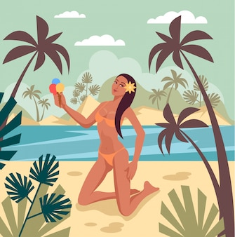 Concepto de banner de vacaciones vacaciones verano
