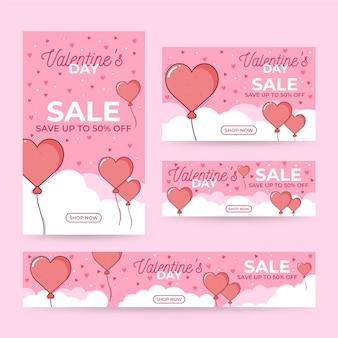 Concepto de banner de venta de día de san valentín