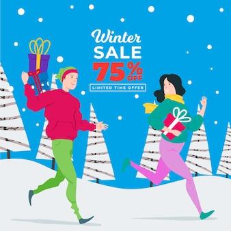 Concepto de banner de venta de invierno dibujado a mano