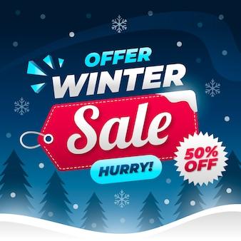 Concepto de banner de venta de invierno de diseño plano