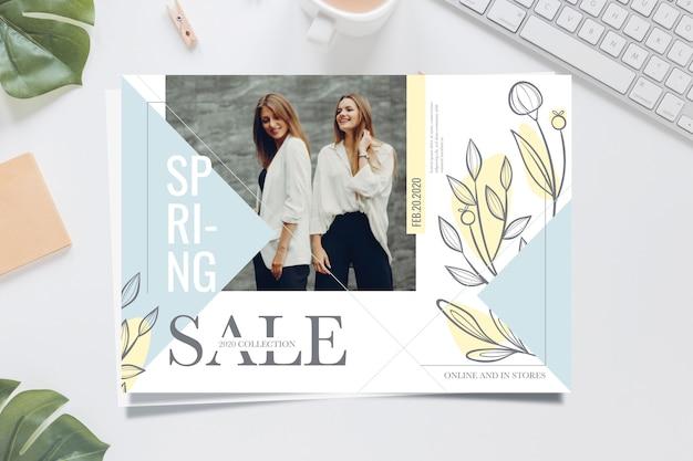 Concepto de banner de venta de primavera con modelo