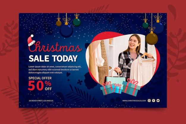 Concepto de banner de ventas de navidad