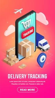 Concepto de banner vertical isométrico de seguimiento en línea de entrega con teléfono inteligente