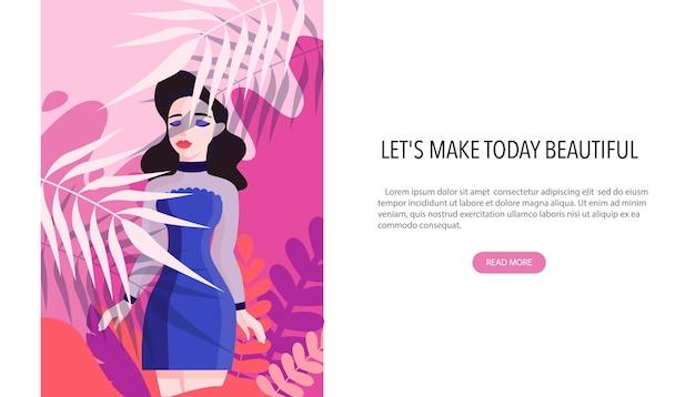 Concepto de banner web de centro de belleza. el salón de belleza ofrece un procedimiento diferente. personaje bastante femenino. concepto de tratamiento de belleza profesional.