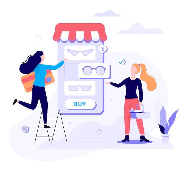 Concepto de banner web de compras en línea. comercio electrónico, cliente a la venta. aplicación en teléfono móvil. tienda de gafas. ilustración con estilo