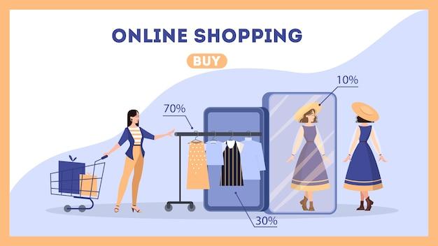 Concepto de banner web de compras en línea. comercio electrónico, cliente en la venta eligiendo vestido. página web . mercadeo por internet. ilustración con estilo