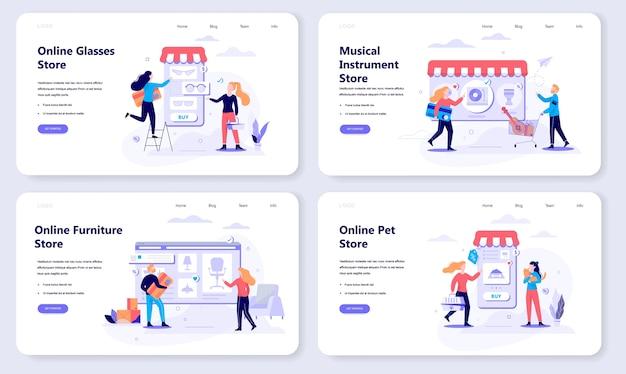 Concepto de banner web de compras en línea. comercio electrónico y venta