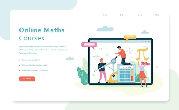 Concepto de banner de web de cursos de matemáticas en línea. asignatura escolar