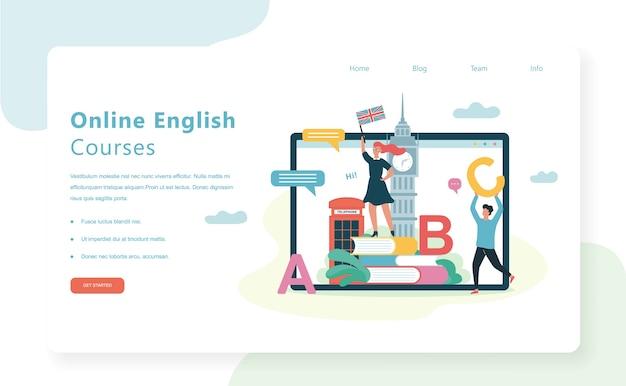 Concepto de banner de web de cursos online. lección de inglés